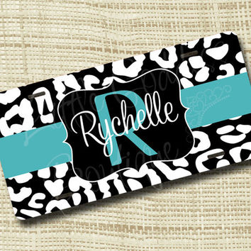 Custom Personalized License Plate, Monogrammed License Plate, Leopard, Cheetah, Jewelry Box Blue or ANY colors
