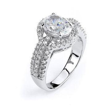 Oval Triple Shank Halo Engagement Ring