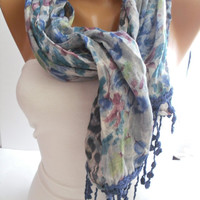 Leopard/Floral Elegance Shawl/Scarf with Lacy Edge by DIDUCI