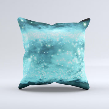 Bright Blue Glowing Orbs of Light  Ink-Fuzed Decorative Throw Pillow
