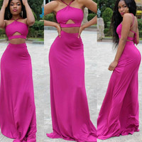 Straps wrapped chest summer new two-piece rose dress