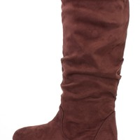 Brown Slouchy Mid Calf Casual Boots Faux Suede