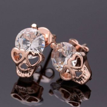 FREE Rose Gold Cubic Zirconia Skull Stud Earrings! Available FREE For a Limited Time!