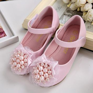 Kids Shoes For Girl Flats Shoes Wedding Beading Pearl Children Party Breathable Bow Knot Cow Muscle Leather White Pink