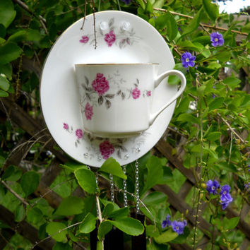 Vintage Tea Cup and Saucer Wind Chime Garden Art Shabby Chic Rose with glass chimes