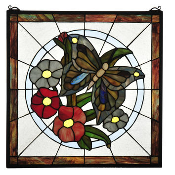 20 Inch W X 20 Inch H Butterfly Floral Stained Glass Window