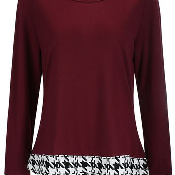 Houndstooth Round Neck Long Sleeve T-Shirt
