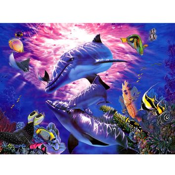 Dolphin Fish Sea Ocean 5D Diamond DIY Painting Craft Embroidery Cross Stitch Decorative Wall Picture Home Decor