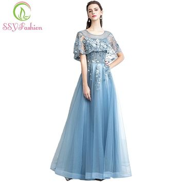 New The Banquet Evening Dress Elegant Grey Blue Lace Flower with Shawl Floor-length Prom Party Gown