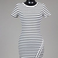 Lilly Striped Dress- White