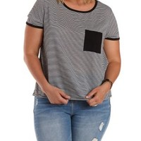Plus Size Black/White Striped Ringer Pocket Tee by Charlotte Russe