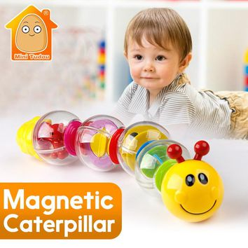 6PCS Little Magnetic Caterpillar Toys For Boy/ Girls Baby Toys 13-24 Months Infant Rattles Early Educational Toys