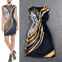 Floral And Black Stripes Digitally Printed A-line Mini Dress