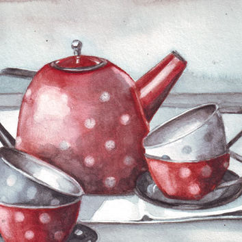 Original watercolor painting Little red teapot and grey cups with polka dots art