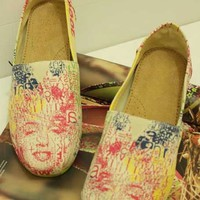 Marilyn Monroe Print Slip On Shoes With Leather Insole - OASAP.com