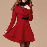 Red Long Coat/Winter Coat/Woman coat/ Long Jacket/ Long Sleeves/Golilla Collar Coat