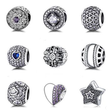 9 Style Authentic 925 Sterling Silver Bead Fashion Crystal Beads Fit Original Women Pandora Charms Bracelet & Bangle DIY Jewelry