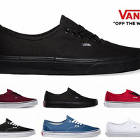 Original Vans Shoes Canvas Authentic Core Classic Red White Black Low Cut Casual Shoes For Mens Womens Sneakers Skateboarding Shoes
