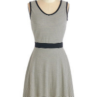 ModCloth Athletic Mid-length Sleeveless Fit & Flare Lucky Line Drive Dress