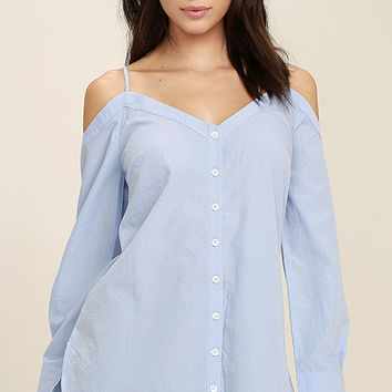Work From Home Light Blue Button-Up Off-the-Shoulder Top