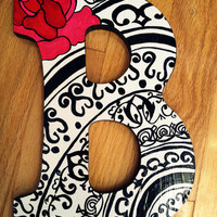 Black Red and White Letters by lnvanors on Etsy