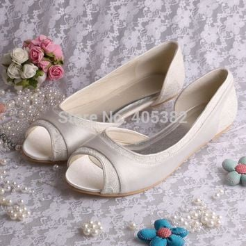 Wedopus Flat Ballerina Ladies Shoes Wedding Bridal shoes Lace Peep Toes