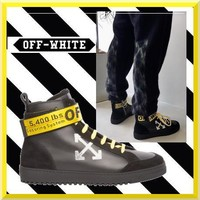 virgil abloh Off-white Arrows High Top Sneakers ¡°Black Gold¡±OMIA051F173500201001