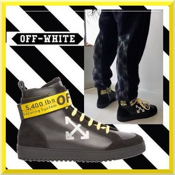 virgil abloh off white arrows high top sneakers black gold omia051f173500201001