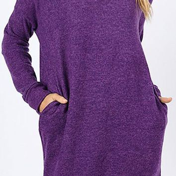 Heathered Knit Pocket Tunic - Purple
