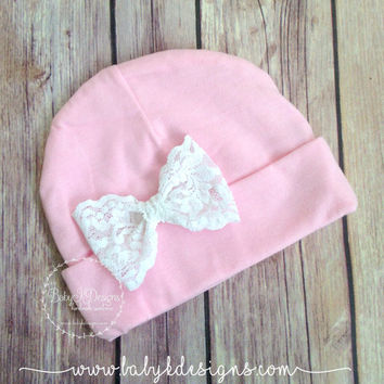 Newborn Bow Hospital Hat | Baby Beanie | Girls Hat | Infant Beanie |  White Messy Hair Lace Bow  TWO SIZES| SAVE 15% Baby K Designs