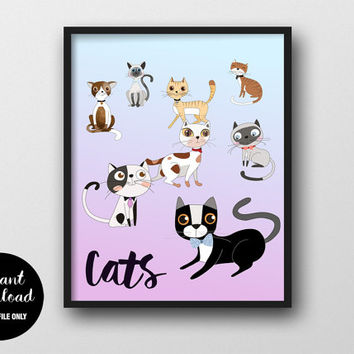 75% OFF Cats Art Print, INSTANT DOWNLOAD, Colorful Kitten Wall Decor, Cat Typography Poster, Modern Cat Nursery Printable, Cute Kitten Art