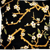 Cherry Blossoms Pillow Cover Black Modern Floral Red Green Blue Camel Decorative Pair 16x16