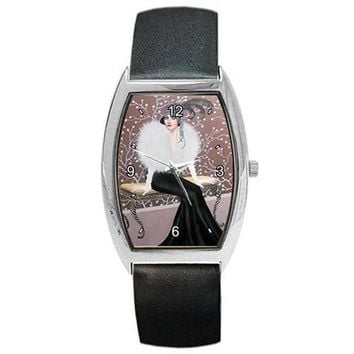 Art Deco Lady Sitting on a Bench on a Womens Barrel Watch with Leather Band