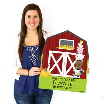 Farm Animals Welcome Sign - Birthday Party or Baby Shower Outdoor Lawn Decorations - Barnyard Party Decorations