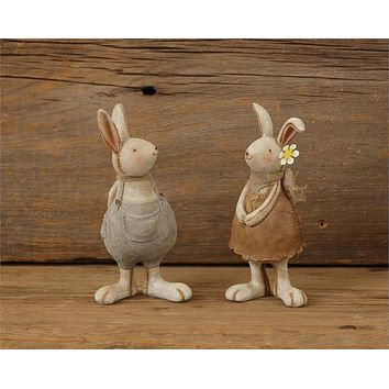 Cute Bunny Rabbits Couple Figures Holding a Flower Easter
