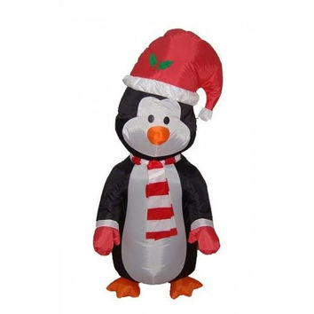 Inflatable Penguin Christmas Yard Art - Self Inflates In Minutes, Blower Included