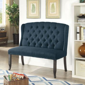 Tufted High Back 2-Seater Love Seat Bench With Nailhead Trims, Blue