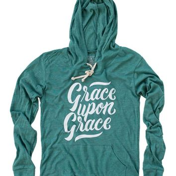 Grace Upon Grace Teal Women's Light Weight Hoodie