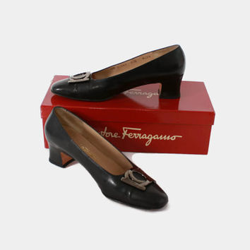 Vintage 80s FERRAGAMO SHOES / 1980s Black Leather Metallic Buckle, Original Box, 7.5