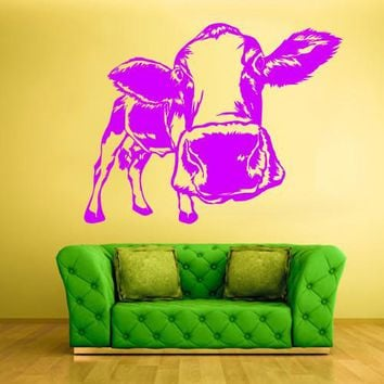 Wall Vinyl Decal Sticker Bedroom Decal Modern Decal Cow Milk Funny Head  z576
