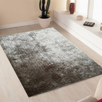 Solid Silver Shag Area Rug Amore collection Hand Tufted Weave