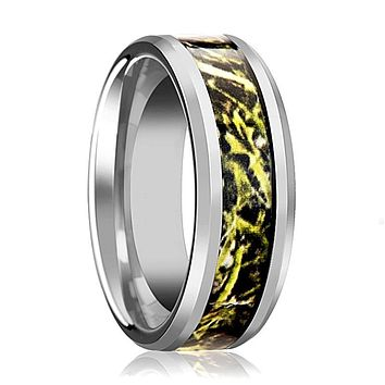 Tungsten Camo Ring - Green Marsh Camo - Tungsten Wedding Band - Beveled - Polished Finish - 8mm - Tungsten Wedding Ring