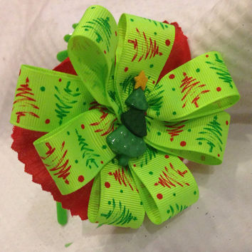 Neon Christmas headband or fascinator Ribbon flower, green headband with peppermint stripes, Christmas headband