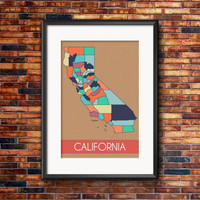 California Art Print Map - 10% of proceeds go to SPCA