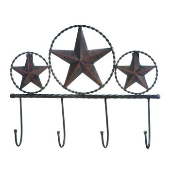 Country Rustic Iron Star Wall Decor Hooks