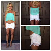 "Reck""Lace"" Shorts - WHITE"