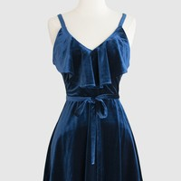 Teal Velvet Ruffle Dress