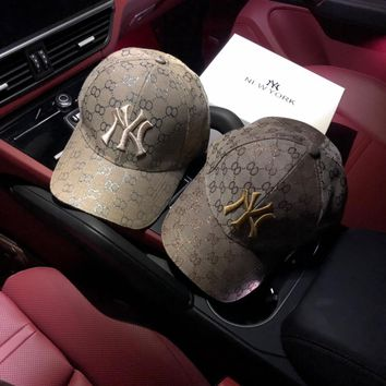 """Gucci x New York Yankees"" Unisex Retro Classic GG Letter Embroidery Baseball Cap Couple Fashion Peaked Cap Sun Hat"