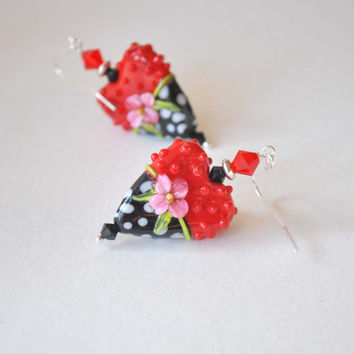Red Heart Earrings, Lampwork Glass Earrings, Polka Dot Earrings, Large Earrings