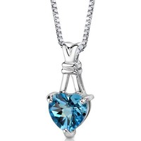 3.00 Carats Heart Shape Swiss Blue Topaz Pendant Necklace in Sterling Silver Rhodium Nickel Finish